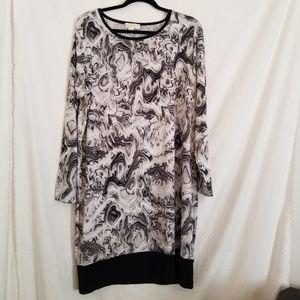 Michael Kors Abstract Swirl Blk/Wht Dress 1x NWOT